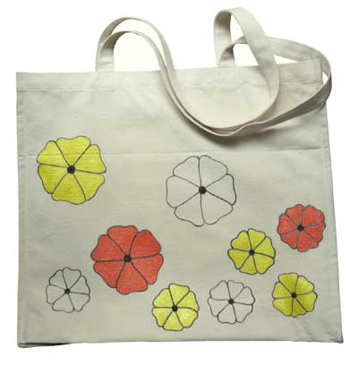 Flowers Painted onto Canvas Bag