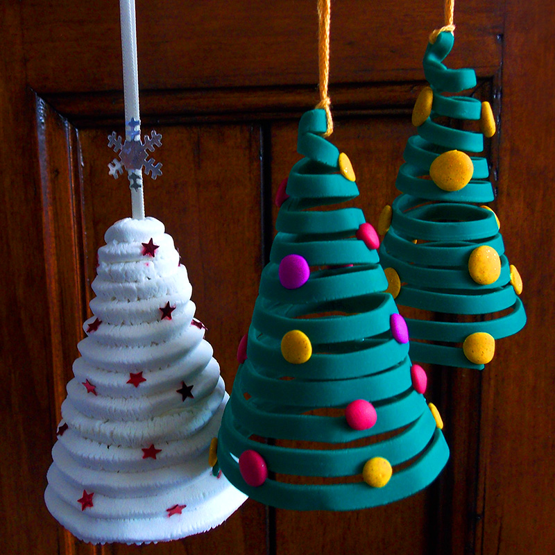 Polymer Clay Christmas Tree Decorations.Polymer Clay Christmas Trees Using An Extruder George Weil