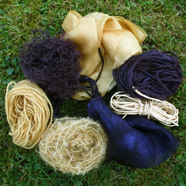 Materials dyed with Natural Dye Fustic and Logwood chips