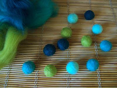 Felt Beads on Bamboo Mat