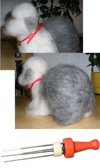 Felting needles to show how Sheepdog was made