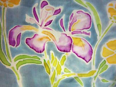 Gutta outliner on silk, flowers painted with Dupont steam fix dyes