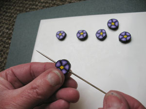 Making holes in Polymer Clay for Silver Wire
