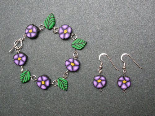 Polymer Clay Cane Bracelet and Earrings