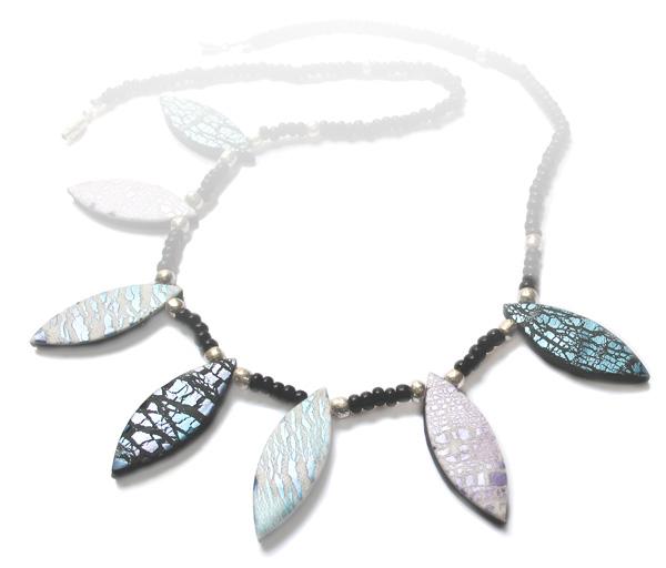 Metal leaf decorated jewellery