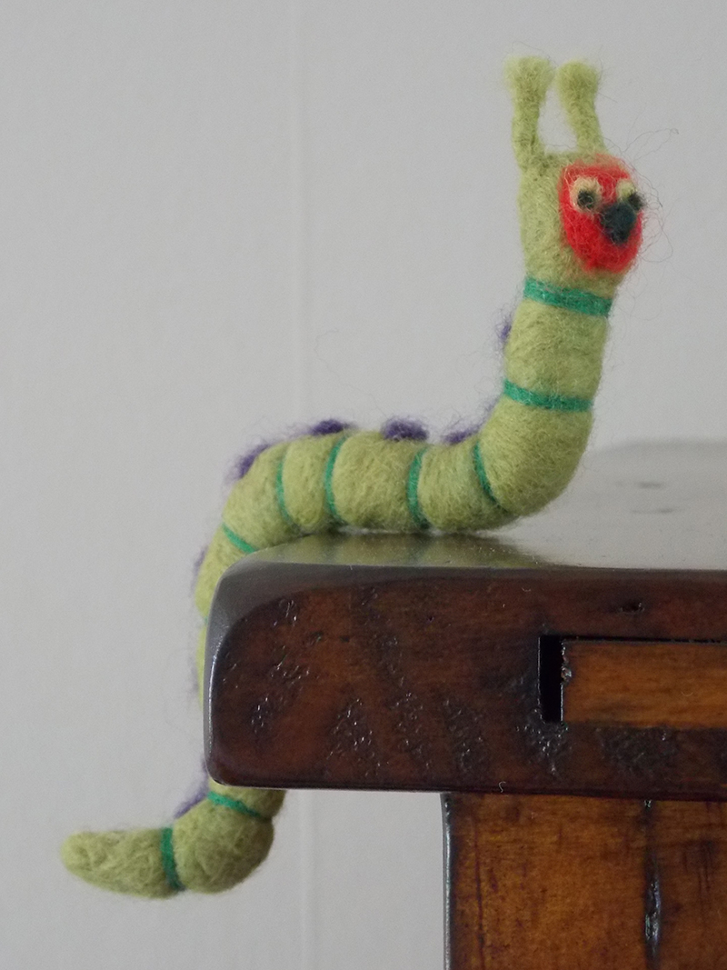 Caterpillar created with a felting needle