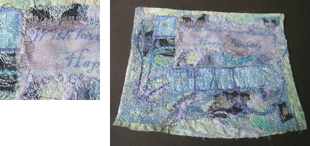 Overstitched Silk decorated with Jacquard Lumiere Paints and Metallic Threads
