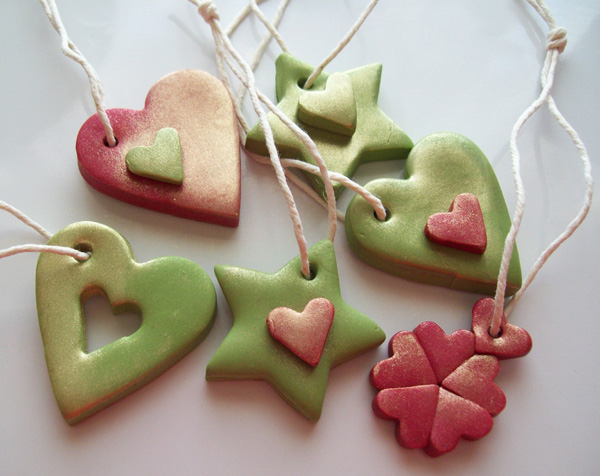 Polymer Clay Heart and Star decorations