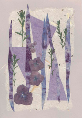 Carolyn Durkin Collage, pressed flowers and papers