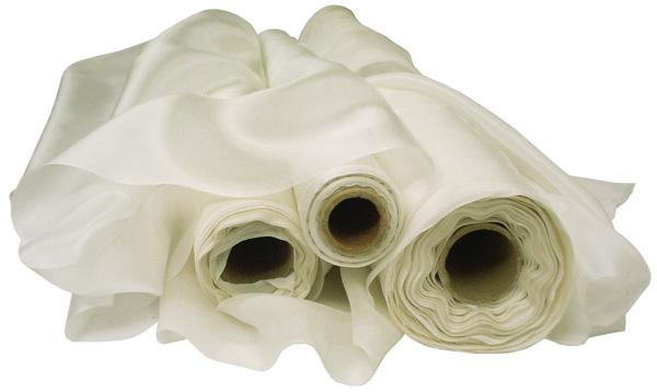 Rolls of white silk