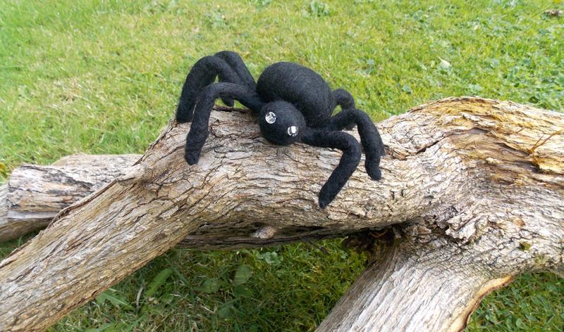 Felted Spider sitting on Log