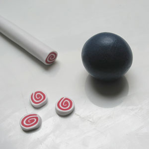 A ball of Polymer Clay and Cane Slices