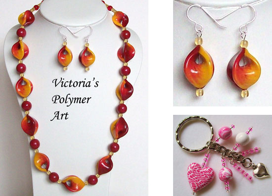 Selection of Polymer Clay Jewellery by Victoria Sommers
