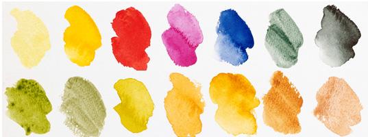 Range of watercolour colours