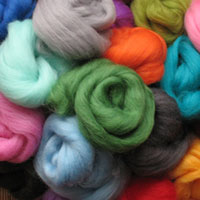 Coloured Wool for feltmaking