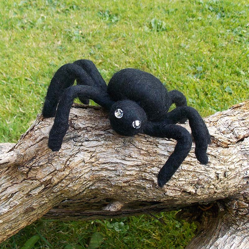Spider made from felt with beady eyes