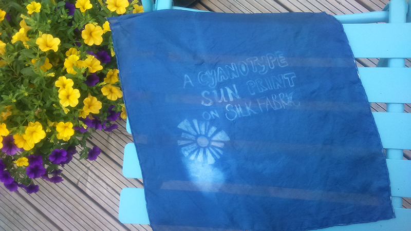 Cyanotype on silk fabric