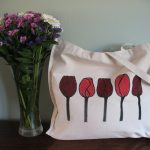 Hand Painted Tulip Canvas Bag