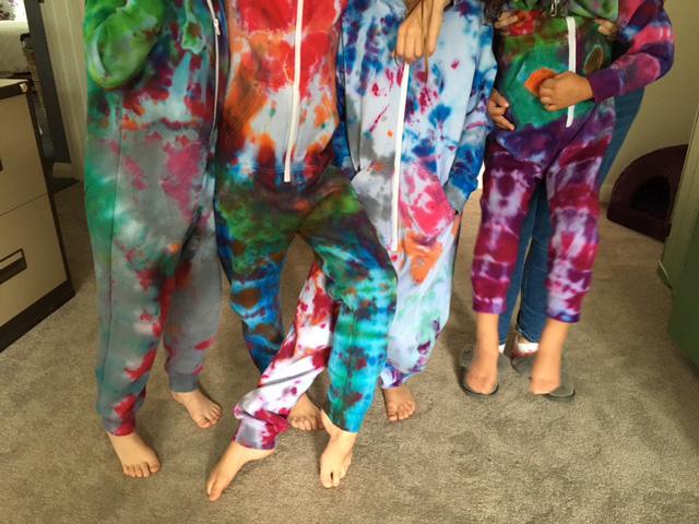 Tie dyed cotton onesies