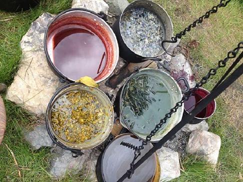 Dye pots on an open fire