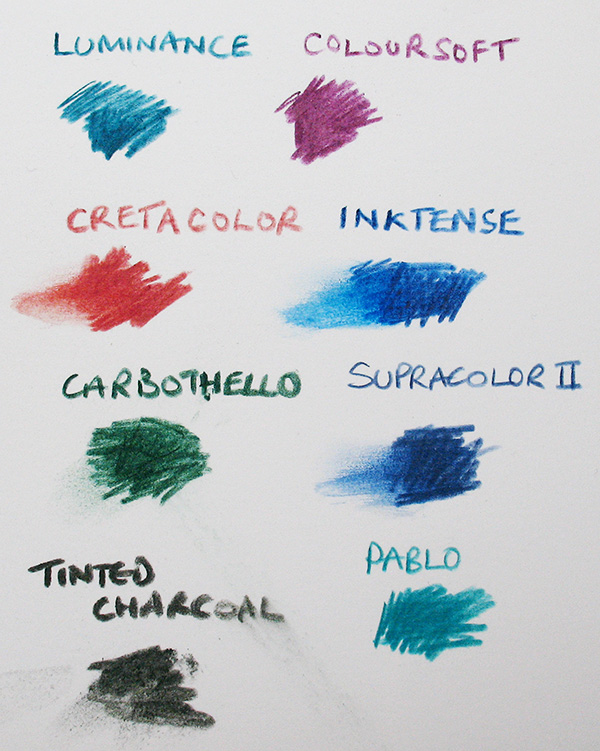 A comparison between coloured pencils