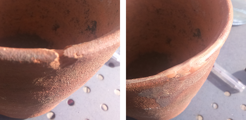 Mending chipped terracotta with Milliput