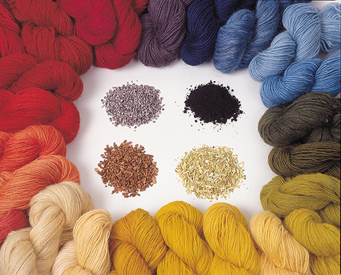 Yarns dyed with Natural Dyes