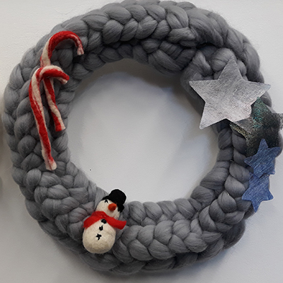 Christmas wreath made from grey wool tops