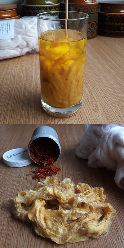 Cotton dyed with Safflower