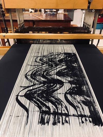 Printed warp on loom
