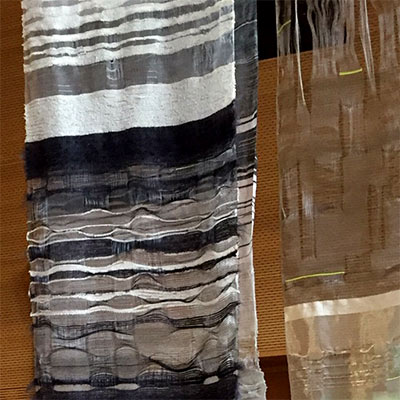 Woven cloth designed by student Andrea Dawson