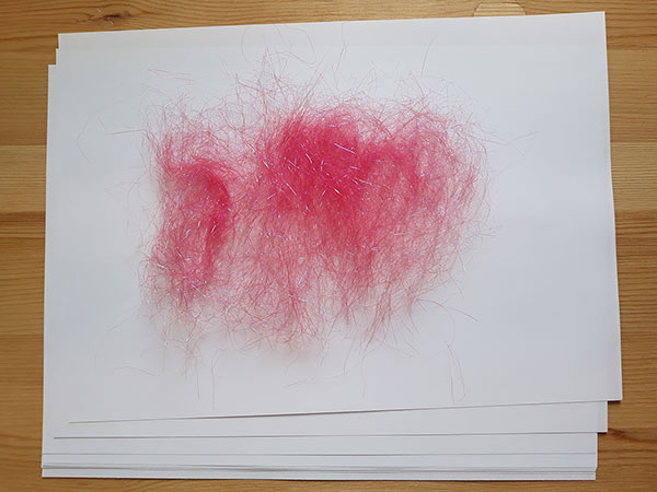 Angelina Fibres spread on paper