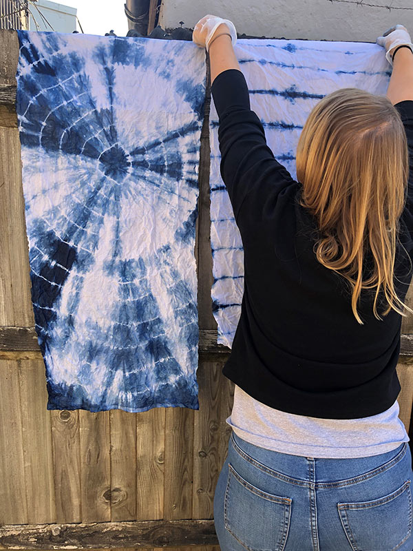 Indigo dyed Shibori on cotton