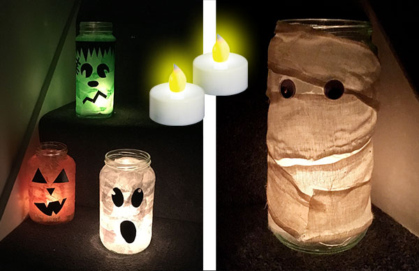 Halloween Lanterns made using tissue paper & PVA