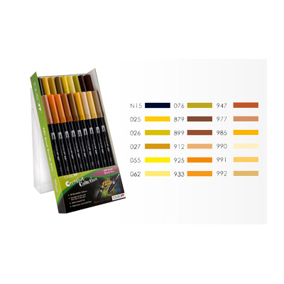Tombow ABT Dual Brush Pen Set - 18 Earth Colours