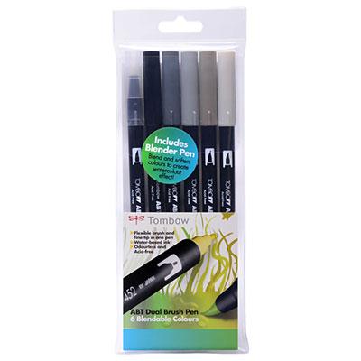 Tombow Dual Brush Pen Set - 6 Greys