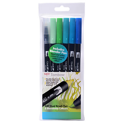 Tombow Dual Brush Pen Set - 6 Ocean Colours