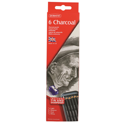 Derwent Charcoal Pencil Tin of 6 (including White)