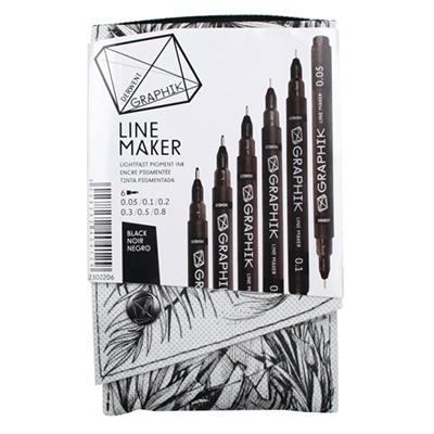 Derwent Graphik Line Maker - Black Set of 6