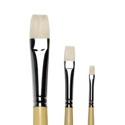 Artists Hog Brushes Short Flat/Bright, long handle