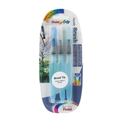 Pentel Arts Aquash Water Brush set of 3