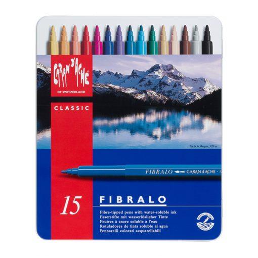 Caran d'Ache Fibralo Fibre Tipped Pens Tin 15