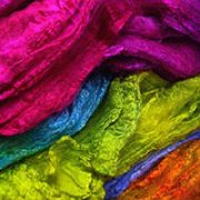 Hand-dyed Silk Fibres