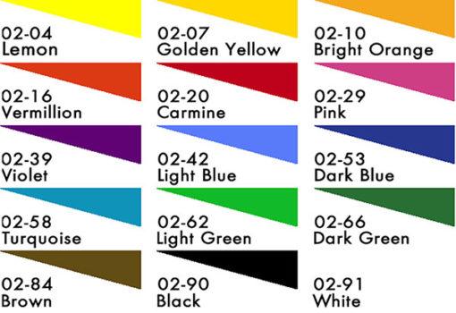 Deka Transparent, 125ml Colour Chart