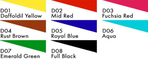 Fibrecrafts Disperse Dyes colour chart