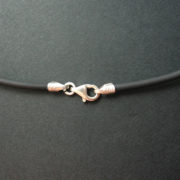 Rubber Thong Necklet with Silver Clasps