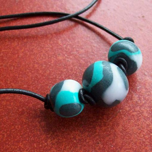 Beads made with coloured and translucent Polymer Clay