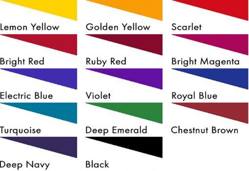 Fibrecrafts Discharge Acid Dyes colour chart