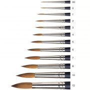 Round sable brushes small to large