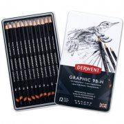 Derwent Soft Graphic Pencils - Tin of 12 for Sketching